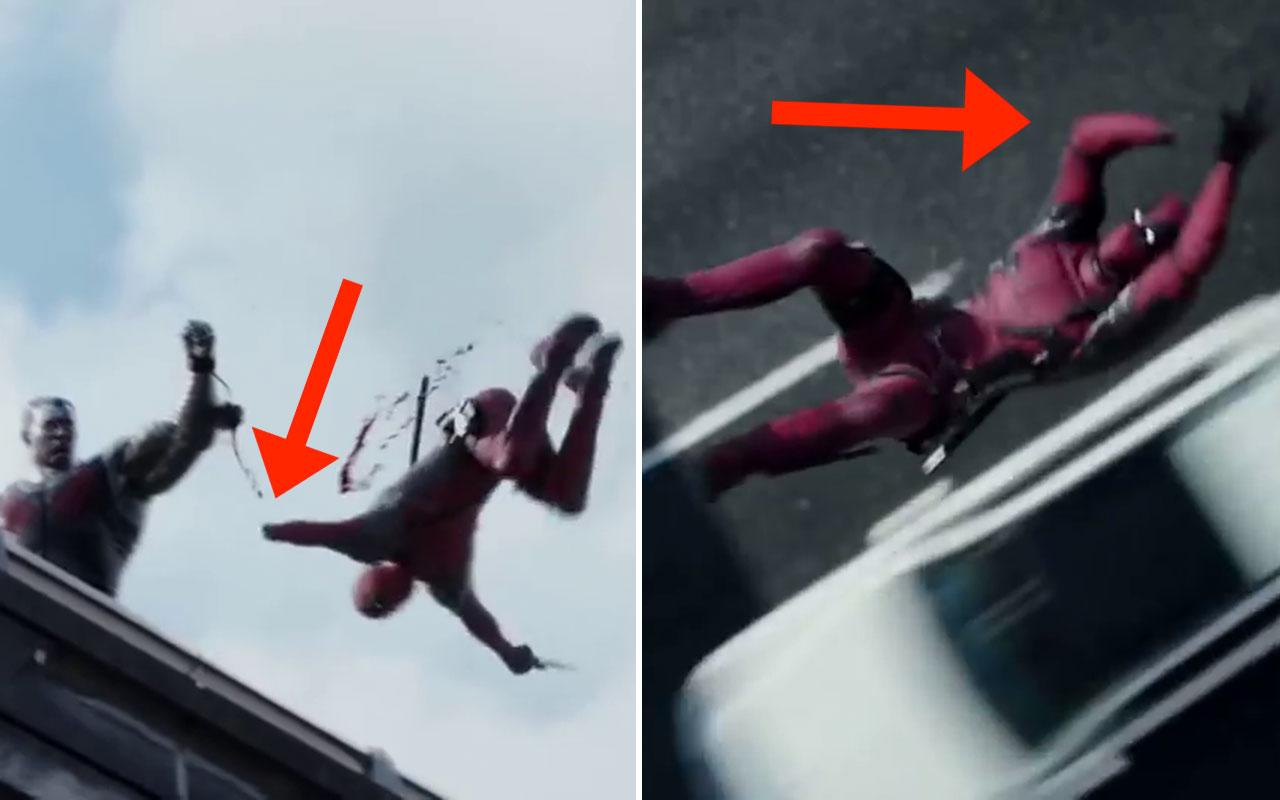 <p>In the bridge fight scene where Colossus and Negasonic Teenage Warhead appear, Deadpool tries to escape Colossus' handcuffs by severing his hand. The hand that he cuts off is his left, but when he jumps off the bridge the severed arm is on his right side. Credit: 20th Century Fox </p>