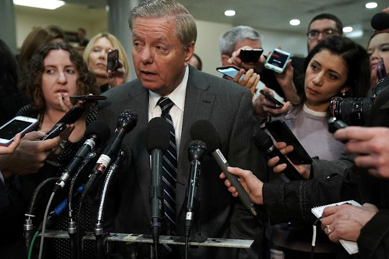 Senator Lindsey Graham speaks to members of the media after a closed door briefing by Central Intelligence Agency Director Gina Haspel (AFP Photo/ALEX WONG)