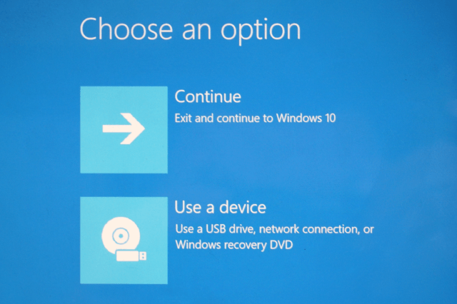uninstall windows 10 use a device screen