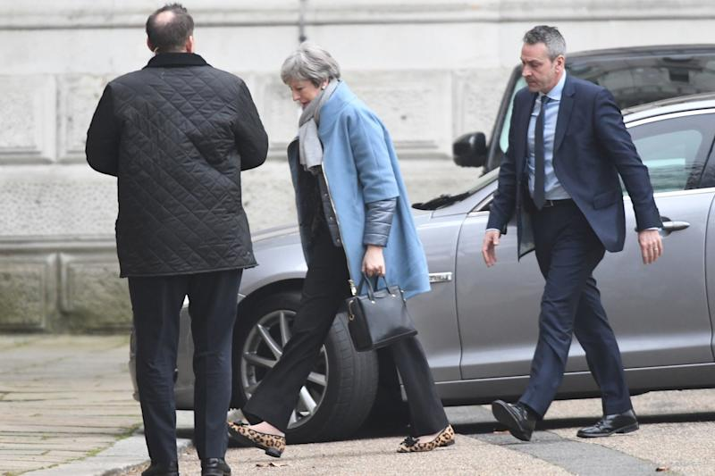Mrs May arrives back at No10 this morning (PA)