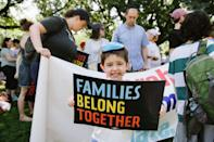 """<p>Solomon Bader, 5. His parents and four siblings carried a giant banner that read """"Torah Trumps Hate"""". </p>"""