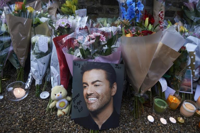 Tributes left outside the home of late British singer George Michael in north London