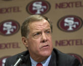 FILE - In this Wednesday, Jan. 15, 2003, file photo, San Francisco 49ers general manager Terry Donahue speaks at an NFL football news conference at 49ers headquarters in Santa Clara, Calif. Donahue, the winningest coach in Pac-12 Conference and UCLA football history who later served as general manager of the NFLs San Francisco 49ers, died Sunday, July 4, 2021. He was 77. (AP Photo/Paul Sakuma, File)