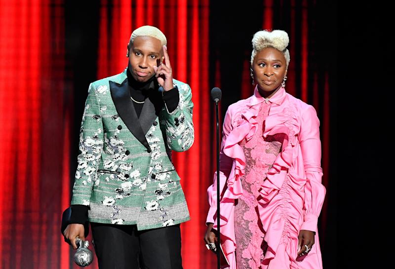 HOLLYWOOD, CALIFORNIA - MARCH 30: Lena Waithe and Cynthia Erivo speak onstage at the 50th NAACP Image Awards at Dolby Theatre on March 30, 2019 in Hollywood, California. (Photo by Earl Gibson III/Getty Images for NAACP)