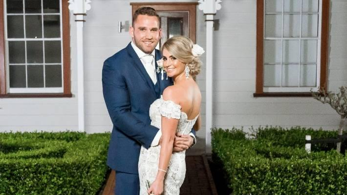 Bel Clarke and her on-screen husband, Haydn Daniels, on Married at First Sight NZ in 2017