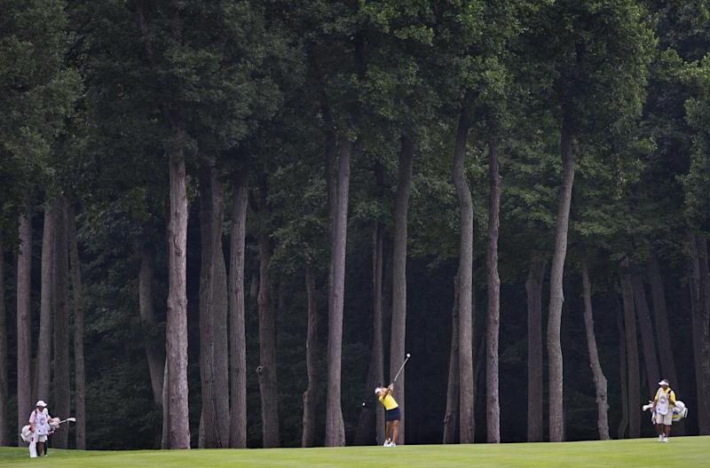 Sweden golfer Anna Nordquist swings from the fairway during the first round of the LGPA International Crown at Caves Valley Golf Club in Owings Mills, Marlyland, July 24, 2014 (AFP Photo/Jim Watson)