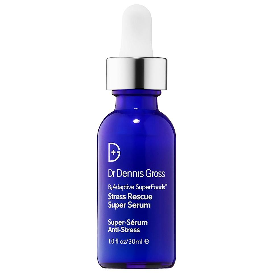 "<p>When the stress you're feeling starts showing up on your face, the <a href=""https://www.popsugar.com/buy/Dr-Dennis-Gross-Stress-Rescue-Super-Serum-Niacinamide-588063?p_name=Dr.%20Dennis%20Gross%20Stress%20Rescue%20Super%20Serum%20With%20Niacinamide&retailer=sephora.com&pid=588063&price=74&evar1=bella%3Aus&evar9=47606854&evar98=https%3A%2F%2Fwww.popsugar.com%2Fphoto-gallery%2F47606854%2Fimage%2F47606858%2FDr-Dennis-Gross-Stress-Rescue-Super-Serum-With-Niacinamide&list1=skin%20care&prop13=api&pdata=1"" class=""link rapid-noclick-resp"" rel=""nofollow noopener"" target=""_blank"" data-ylk=""slk:Dr. Dennis Gross Stress Rescue Super Serum With Niacinamide"">Dr. Dennis Gross Stress Rescue Super Serum With Niacinamide</a> ($74) has a targeted formula of adaptogens and superfoods that can help calm the situation, fast. </p>"