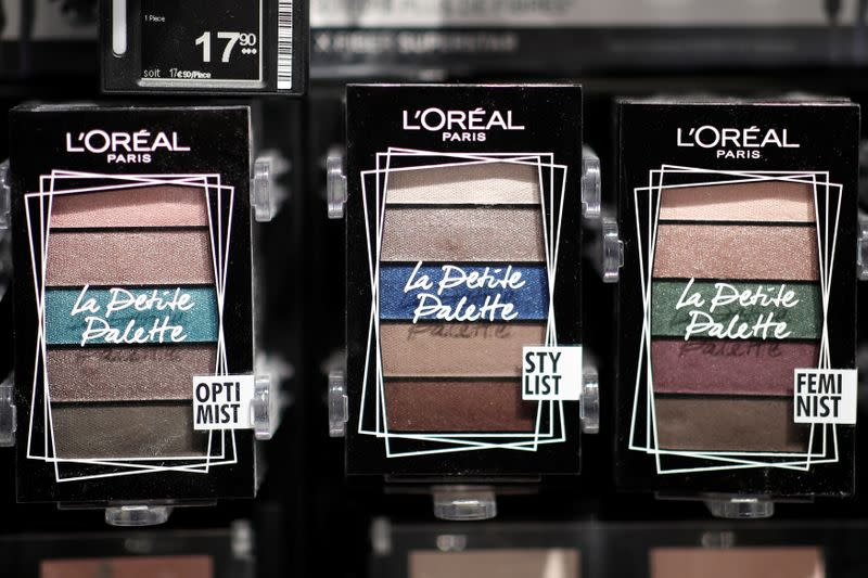 """L'Oreal make-up is displayed in a new beauty store """"...le drugstore parisien"""" by French supermarket retailer Casino and beauty products group L'Oreal in Paris"""