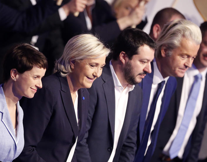 AfD (Alternative for Germany) chairwoman Frauke Petry, Far-right leader and candidate for next spring presidential elections Marine le Pen from France, Italian Lega Nord chief Matteo Salvini and Dutch populist anti-Islam lawmaker Geert Wilders , from left, stand together in the beginning of a meeting of European Nationalists in Koblenz, Germany, Saturday, Jan. 21, 2017. (AP Photo/Michael Probst)