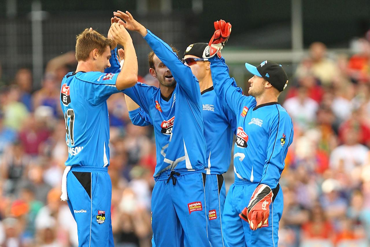 PERTH, AUSTRALIA - DECEMBER 09: Strikers players celebrate taking the wicket of Herschelle Gibbs during the Big Bash League match between the Perth Scorchers and Adelaide Strikers at WACA on December 9, 2012 in Perth, Australia.  (Photo by Will Russell/Getty Images)