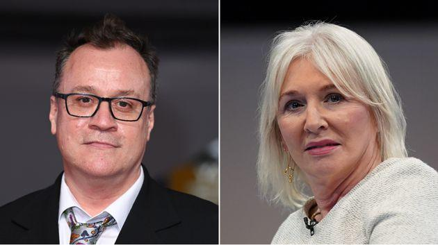 <strong>Russell T Davies and Nadine Dorries.</strong> (Photo: Getty Images)