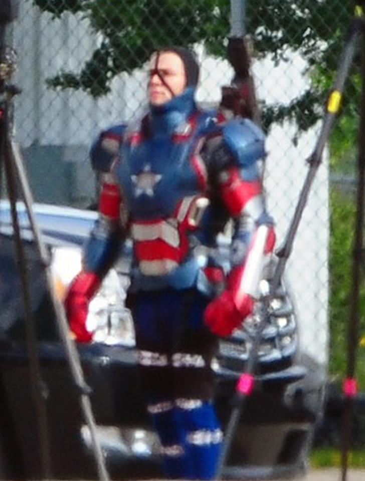 "The new villain for ""Iron Man 3"", the Iron Patriot! James Badge Dale plays the part of Eric Savin, a soldier who loses his legs after stepping on a land mine and is resurrected as a cyborg, later becoming the villain Cold Blood. (Though it looks like they'll be combining the character with the Iron Patriot character, which will no doubt upset plenty of the comic fanboys.) James films a scene on an airbase in the patriotic suit in Wilmington, North Carolina on May 29, 2012."
