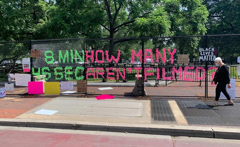 Message from protestors on fencing around the white house, Tuesday June 09, 2020 (Brittany Shepherd)