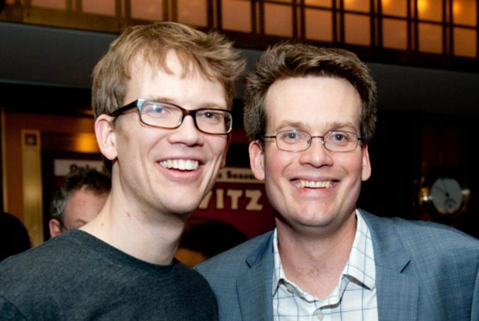 John Green, right, with his brother, Hank Green.