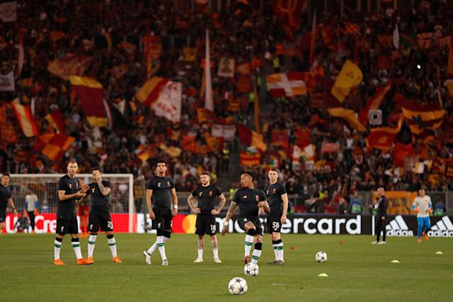 Soccer Football - Champions League Semi Final Second Leg - AS Roma v Liverpool - Stadio Olimpico, Rome, Italy - May 2, 2018 Liverpool players warm up before the match Action Images via Reuters/John Sibley