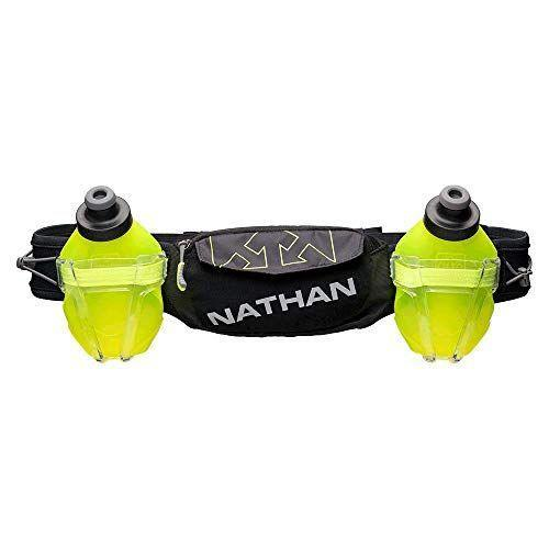 """<p><strong>Nathan</strong></p><p>amazon.com</p><p><strong>$49.98</strong></p><p><a href=""""https://www.amazon.com/dp/B07PFDSV2S?tag=syn-yahoo-20&ascsubtag=%5Bartid%7C2141.g.36330154%5Bsrc%7Cyahoo-us"""" rel=""""nofollow noopener"""" target=""""_blank"""" data-ylk=""""slk:Shop Now"""" class=""""link rapid-noclick-resp"""">Shop Now</a></p><p>This running is <strong>one of the most minimal hydration pack styles.</strong> """"This is my favorite. It goes around the waist, and it has a snug fit,"""" Sheu says. It also doesn't bounce, so it can work great for walkers, runners, and hikers. The belt has two flasks that are leak-proof, and each holds 10 ounces of water.</p>"""