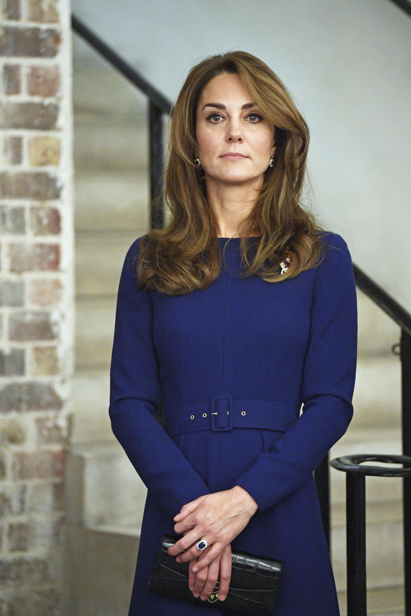 Kate, the Duchess of Cambridge attends the launch of the National Emergencies Trust with Britain's Prince William, at St Martin-in-the-Fields in Trafalgar Square, London, Thursday, Nov. 7, 2019. The National Emergencies Trust is an independent charity which will provide an emergency response to disasters in the UK. (Victoria Jones/Pool Photo via AP)