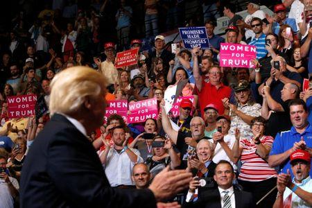 U.S. President Donald Trump holds a rally with supporters at an arena in Cedar Rapids, Iowa, U.S. June 21, 2017.  REUTERS/Jonathan Ernst