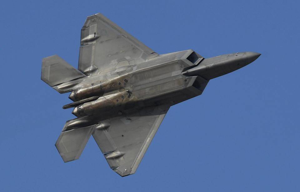 A US air force F-22 fighter jet is seen at an event during the Dubai airshow in the United Arab Emirates on November 17, 2019.  (AFP via Getty Images)