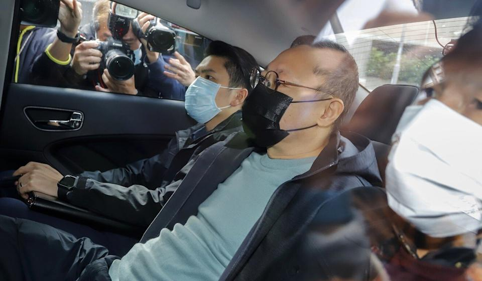 Benny Tai arrives at the Ma On Shan Police Station after his arrest on suspicion of subversion last week. Photo: Handout