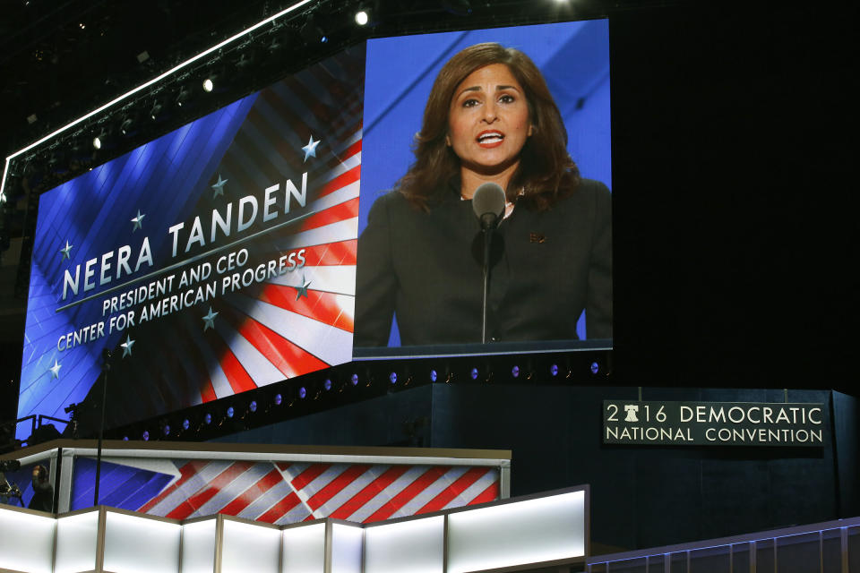 PHILADELPHIA, PENNSYLVANIA--JULY 27, 2016--Neera Tanden, President and CEO for the Center for American Progress appears on the screen as she addresses the delegates on the third day of the Democratic National Convention on Monday, July 27, 2016. (Photo by Carolyn Cole/Los Angeles Times via Getty Images)