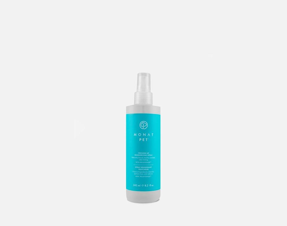 """<p>A gentle, all-natural formula to spray on dry or damp fur when it needs a little refresh. Made from a cruelty-free botanical blend that can also be used on beds, the scent is pawsitively delightful for use between baths. </p><p>£20, <a href=""""https://monatglobal.com/uk/monat-pet-freshen-up-deodorising-spray/"""" rel=""""nofollow noopener"""" target=""""_blank"""" data-ylk=""""slk:Monat"""" class=""""link rapid-noclick-resp"""">Monat</a>.</p>"""