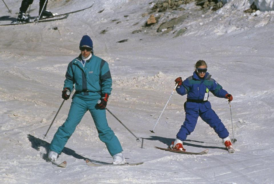 <p>Proving that royals can't stay away from the slopes, Princess Anne took her daughter, Zara Phillips, on a skiing holiday in the French alps in 1989. They stayed in Morzine, France for their New Year holiday. </p>