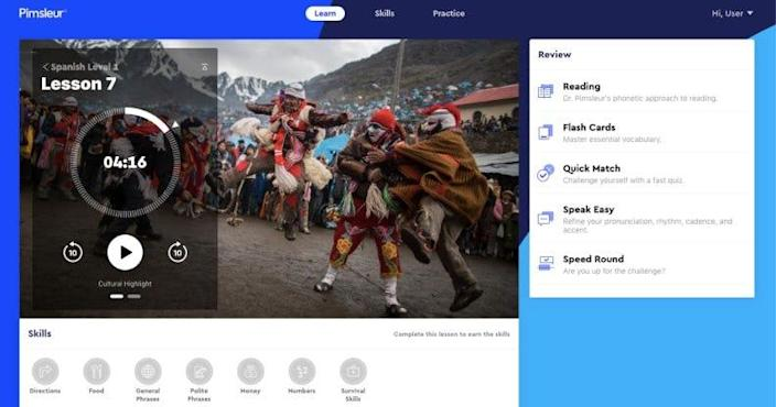 Pimsleur's clean, attractive interface helps it feel user-friendly and approachable