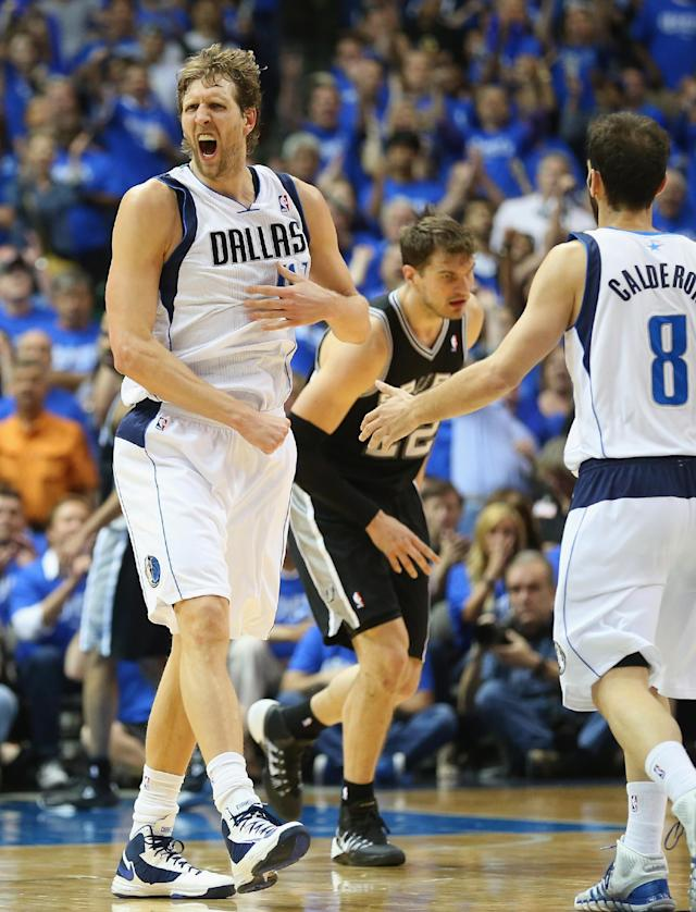 DALLAS, TX - MAY 02: Dirk Nowitzki #41 of the Dallas Mavericks celebrates during play against the San Antonio Spurs in Game Six of the Western Conference Quarterfinals during the 2014 NBA Playoffs at American Airlines Center on May 2, 2014 in Dallas, Texas. (Photo by Ronald Martinez/Getty Images)