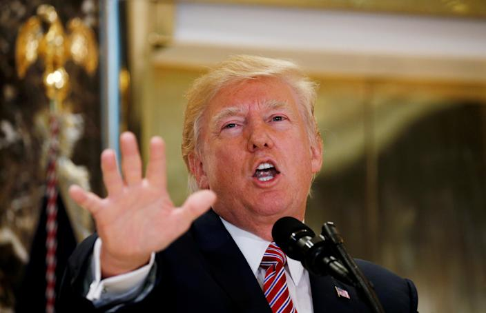 """President Trump commenting on the infamous """"Unite the Right"""" rally held in Charlottesville, from the lobby of Trump Tower in Manhattan, Aug. 15, 2017. (Photo: Kevin Lamarque/Reuters)"""
