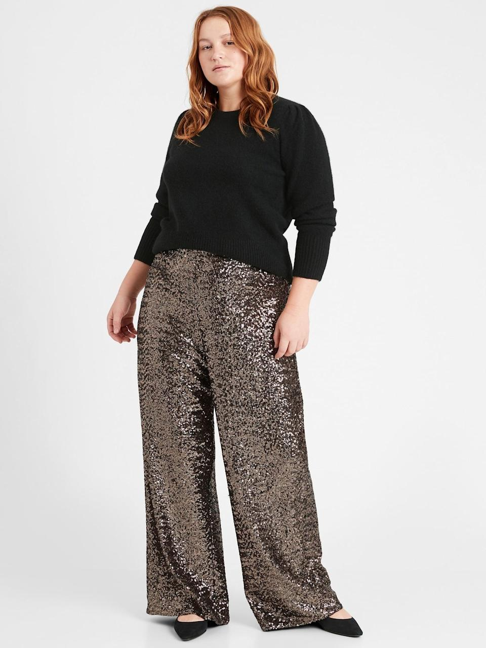"""<p>Have you ever tried wearing sequins during the day? These <span>Banana Republic High-Rise Wide-Leg Sequin Pant</span> ($75, originally $110) are in <i>instant</i> mood lifter. Pair them with a pair of your favorite low-top white sneakers and turtle neck for a cool look for errands. Check out the reviews """"They are sparkly and I bought them to use as joggers on miserable days."""" These seem to be perfect to cheer you up!</p>"""