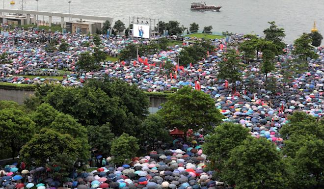 Pro-government supporters at the Safeguard Hong Kong rally at Tamar Park, Admiralty. Organisers say 316,000 people turned out in support of police. Photo: Felix Wong