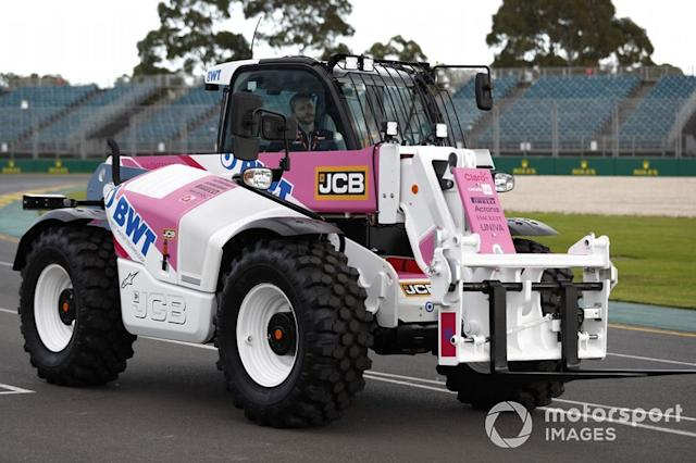 """A JCB in Racing Point livery <span class=""""copyright"""">Glenn Dunbar / Motorsport Images</span>"""