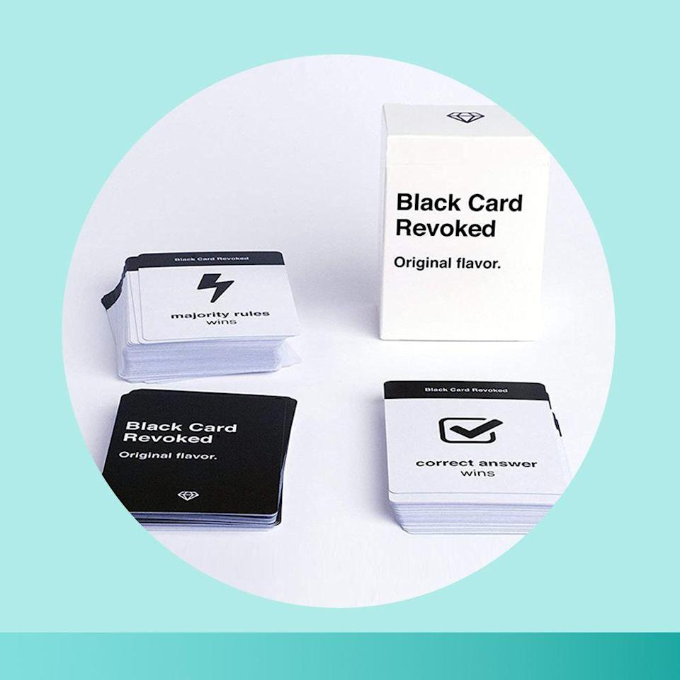 """<p><strong>Black Card Revoked</strong></p><p>amazon.com</p><p><strong>$17.99</strong></p><p><a href=""""https://www.amazon.com/dp/B076W2B841?tag=syn-yahoo-20&ascsubtag=%5Bartid%7C2089.g.376%5Bsrc%7Cyahoo-us"""" rel=""""nofollow noopener"""" target=""""_blank"""" data-ylk=""""slk:Shop Now"""" class=""""link rapid-noclick-resp"""">Shop Now</a></p><p>Celebrate Black popular culture with a nostalgia-packed card game that'll get the whole family involved. </p><p>Trivia questions like """"How many fights did Will Smith get into before his mom got scared?"""" are balanced with debate-initiating prompts like """"Who is the best rap artist out right now?"""" as well as more serious topics that'll lead to thought-provoking conversation.</p>"""