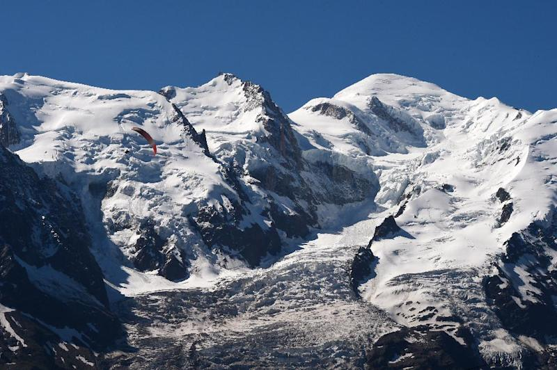A photo taken on July 16, 2014 from the Brevent mountain shows a view of the Mont-Blanc mountain, in the French Alp
