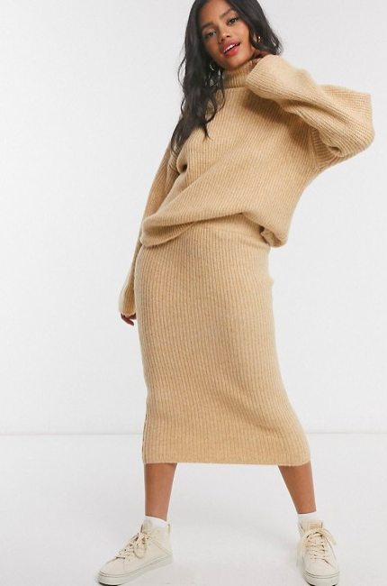 ASOS DESIGN fluffy midi skirt in camel. Image via asos.com