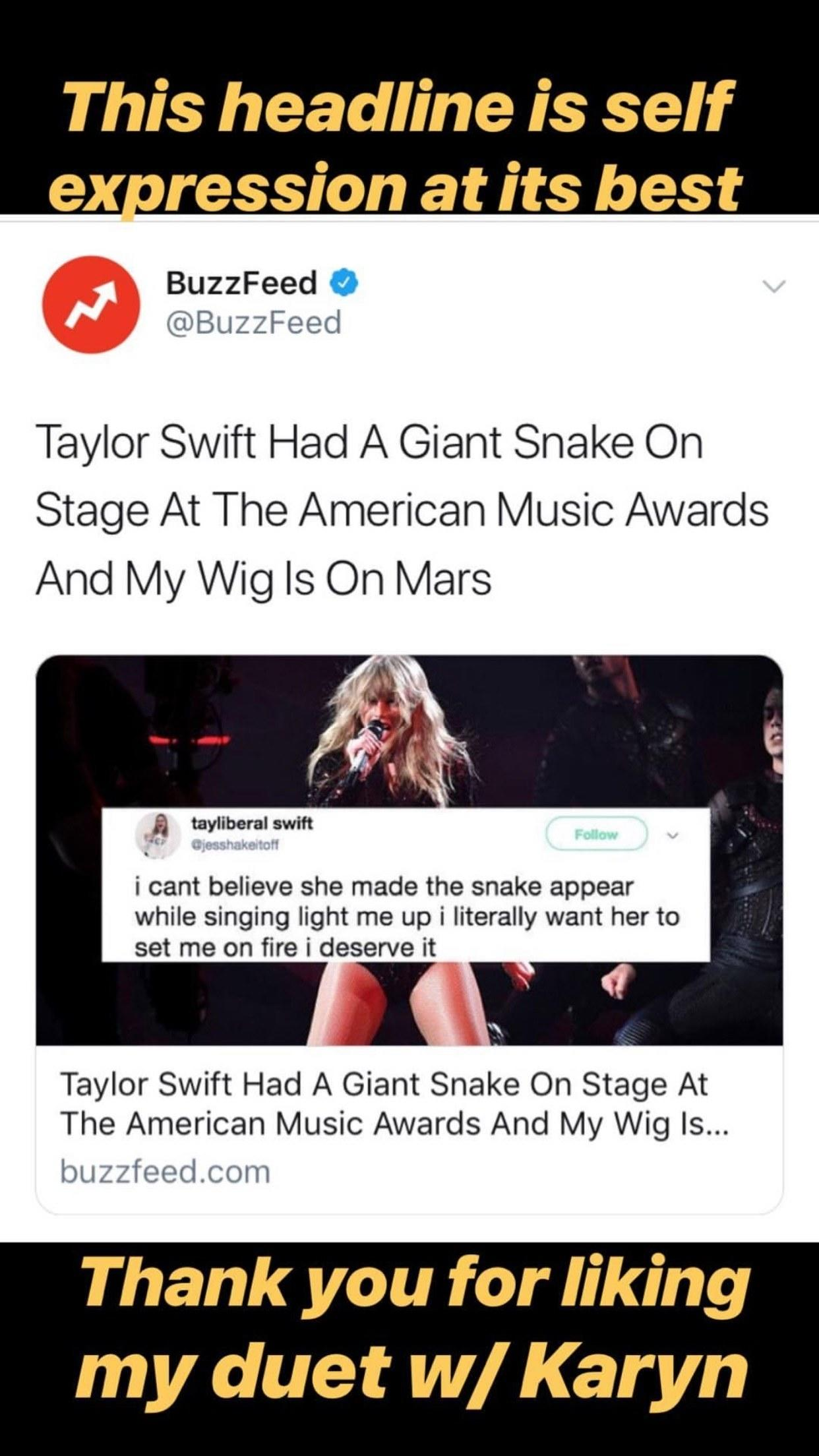 Taylor Swift's Snake—Whose Name Is Karyn, BTW—Stole the Show at the