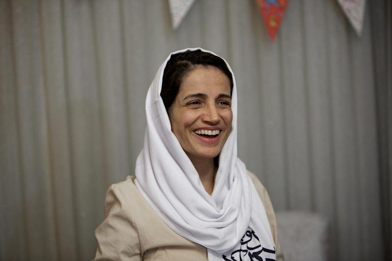 Iranian lawyer Nasrin Sotoudeh, pictured at her home in Tehran on September 18, 2013, was arrested on unknown charges, her husband said, weeks after she was barred from practising for three years