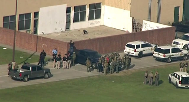 <p>Screengrab of scene of a shooting at Santa Fe High School in Santa Fe, Texas, May 18, 2018. (Video still: Yahoo News Video) </p>
