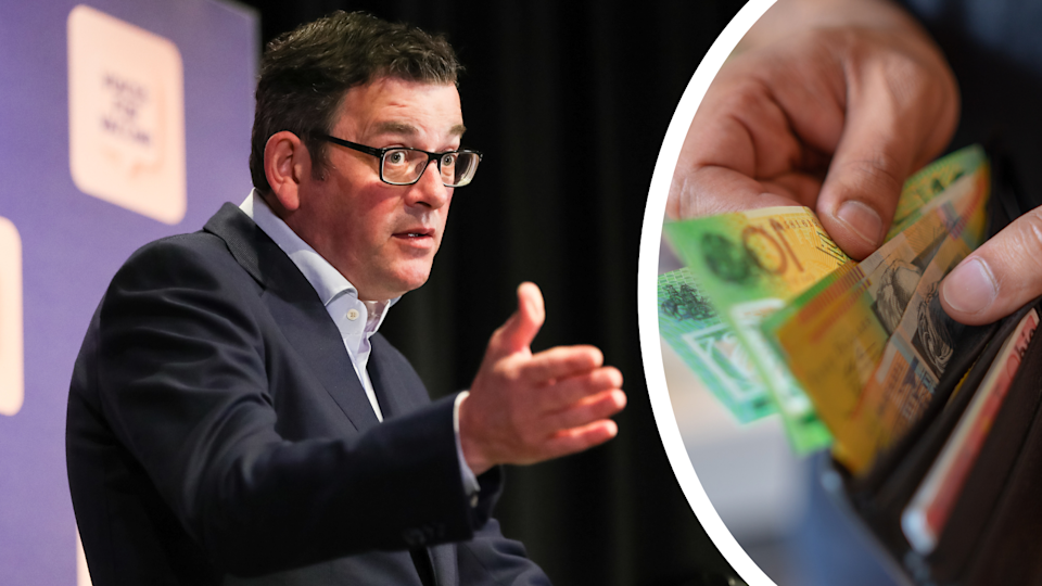 Victorian Premier Daniel Andrews speaking at a press conference and a person removing $100 notes from a wallet.