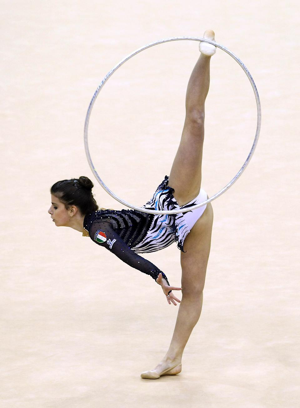 Federica Febbo of Italy in action in the Individual All-Around Final during the FIG Rhythmic Gymnastics in London.