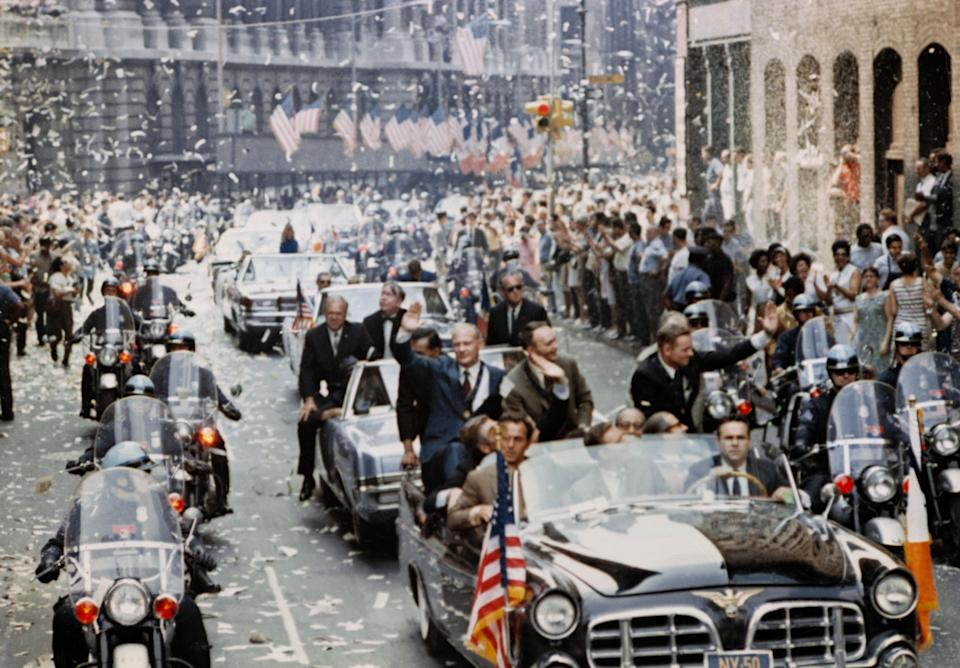 New York City welcomes the three Apollo 11 astronauts, Neil A. Armstrong, Michael Collins, and Buzz Aldrin, Jr., in a showering of ticker tape down Broadway and Park Avenue on august 13, 1969, in a parade termed at the time as the largest in the city's history. (Photo: NASA)