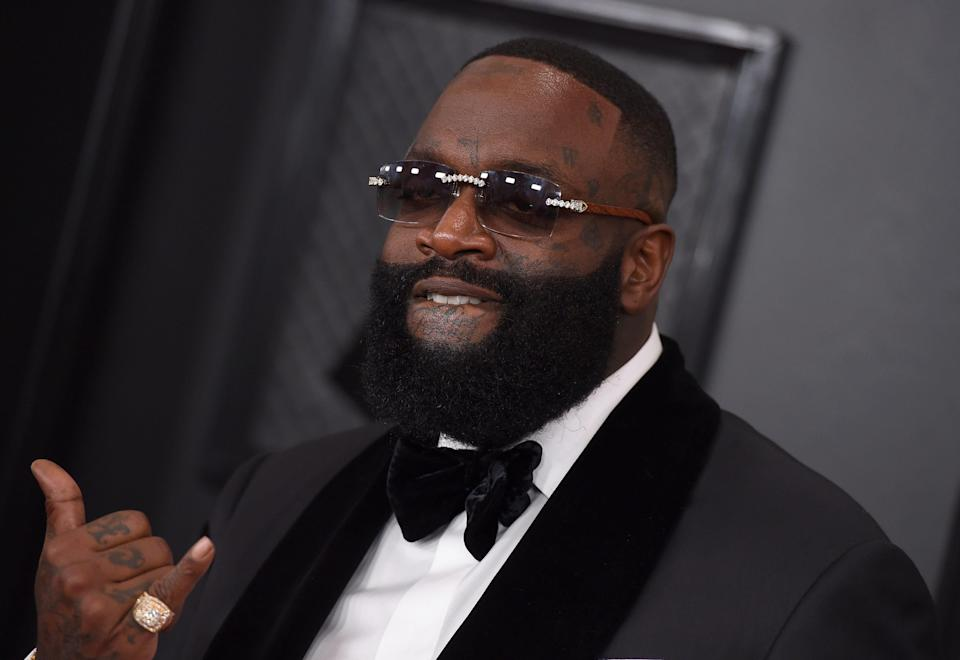 Rick Ross arrives at the 62nd annual Grammy Awards at the Staples Center on Sunday, Jan. 26, 2020, in Los Angeles. (Photo by Jordan Strauss/Invision/AP) ORG XMIT: CADC151