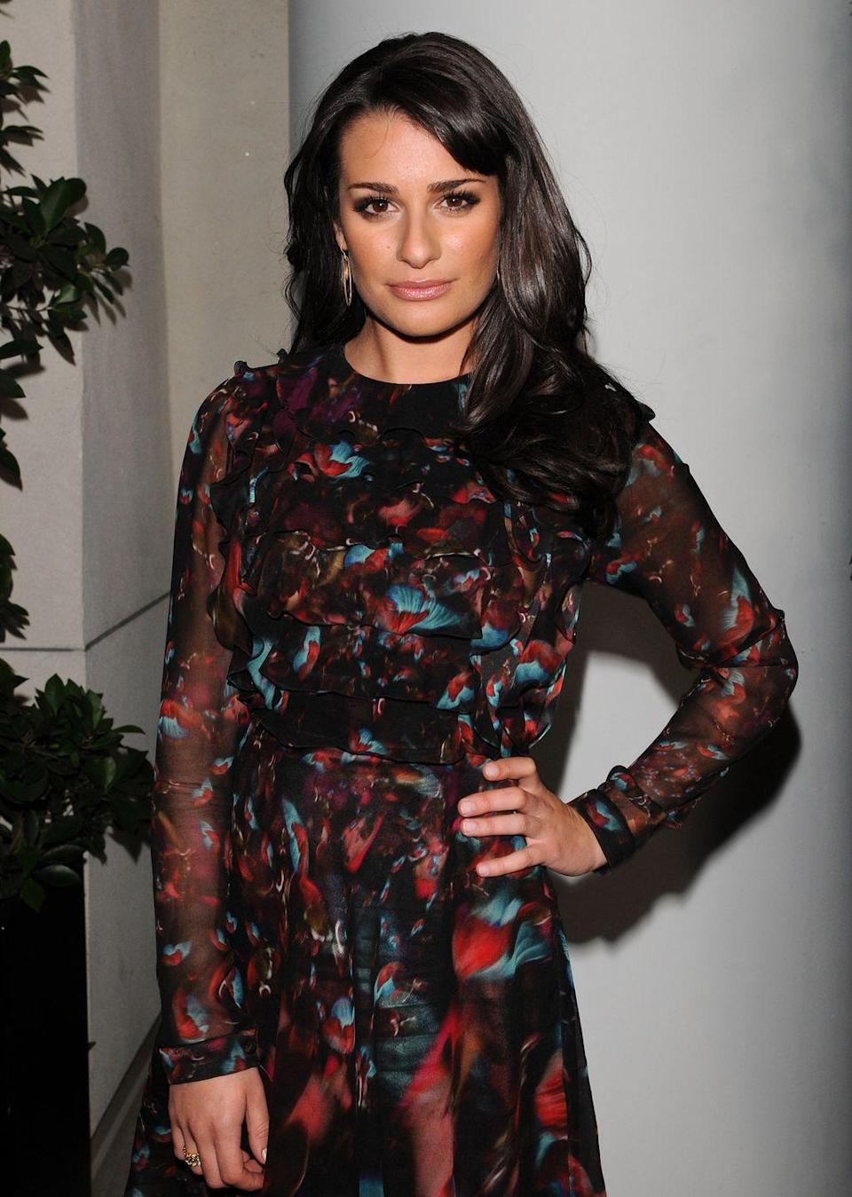<p><em>Glee </em>star Lea Michele made an appearance at a <em>TV Guide Magazine </em>party in a flowy, '70s-inspired dress.</p>
