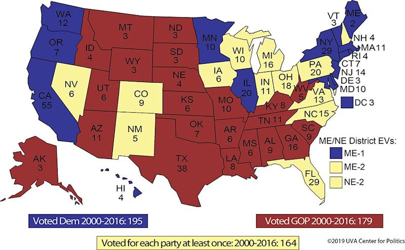 A look at potential 2020 swing states. (Source: UVA Center for Politics)