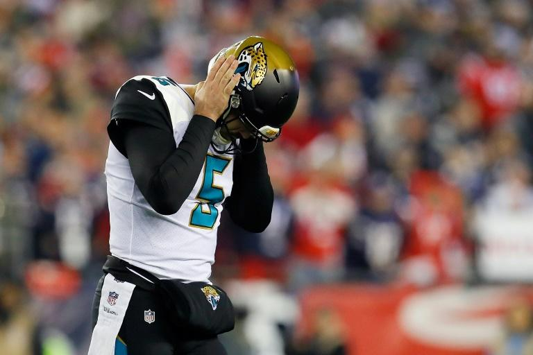 Jacksonville Jaguars quarterback Blake Bortles reacts in the fourth quarter of the AFC Championship Game against the New England Patriots