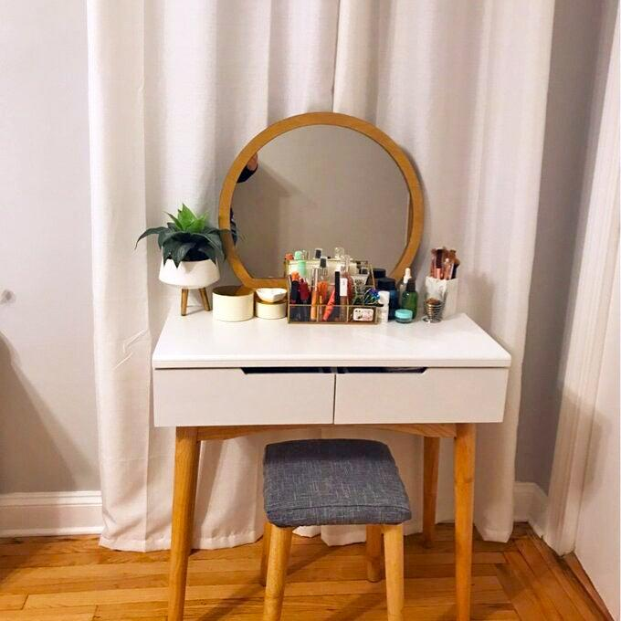 """<h2>Wrought Studio Arinze Vanity</h2><br><strong>Flash Deal: 42% Off</strong><br>R29-reader-favorite small-space WFH hack of 2020? Turning a vanity into a desk (and vice versa). The most wanted product for getting that job done? This currently even steeper price-slashed Wayfair score that comes complete with a mirror AND a stool. <br><br><strong>Wrought Studio</strong> Arinze Vanity Set with Stool and Mirror, $, available at <a href=""""https://go.skimresources.com/?id=30283X879131&url=https%3A%2F%2Fwww.wayfair.com%2Ffurniture%2Fpdp%2Fwrought-studio-arinze-vanity-set-with-stool-and-mirror-w000500139.html"""" rel=""""nofollow noopener"""" target=""""_blank"""" data-ylk=""""slk:Wayfair"""" class=""""link rapid-noclick-resp"""">Wayfair</a>"""