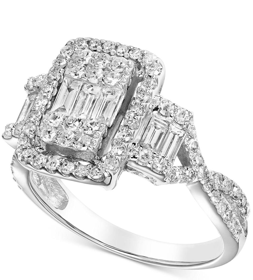 <p>Clusters of diamonds fool the eyes, and this <span>Diamond Baguette Cluster Engagement Ring</span> ($2,495, originally $5,136) does the trick.</p>