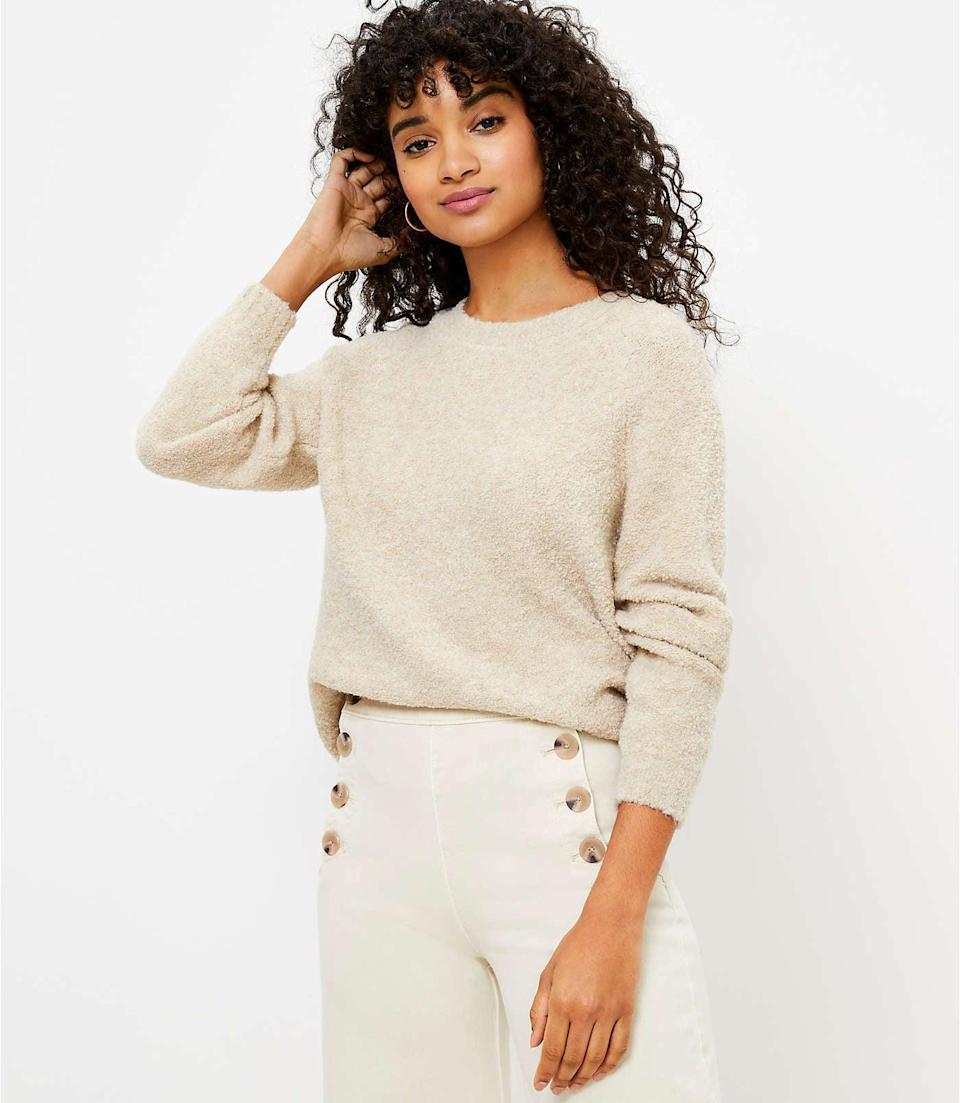<p>Pair this <span>LOFT Boucle Sweater</span> ($20, originally $70) with wide-leg pants or fitted jeans.</p>