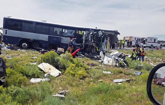 The front of the Greyhound bus was sheared off in the crash (Associated Press)